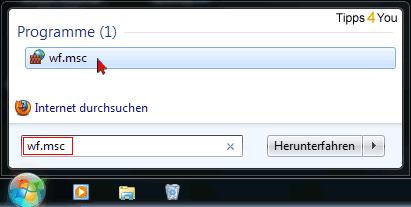 Anschließend klicken Sie im oberen Teil des Fensters auf wf.msc.