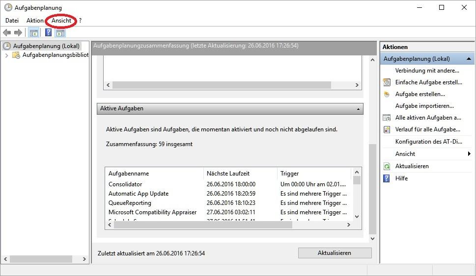 Windows 10 Aufgabenplanung: ausgeblendete Aufgaben einblenden