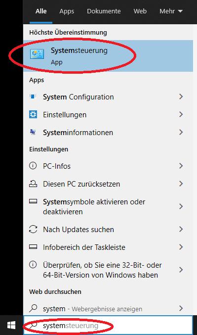 windows systemsteuerung