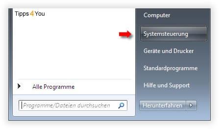 In der Systemsteuerung klicken Sie auf Programme