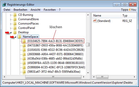 Nach der Sicherung löschen Sie den Schlüssel{031E4825-7B94-4dc3-B131-E946B44C8DD5}