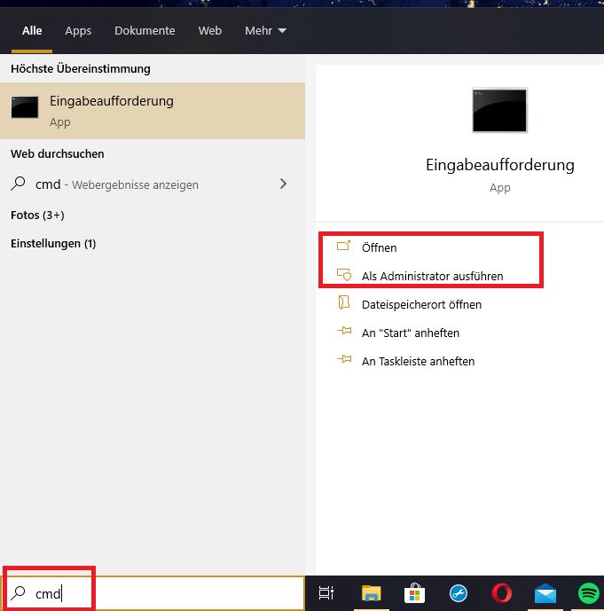 eingabeaufforderung windows 10