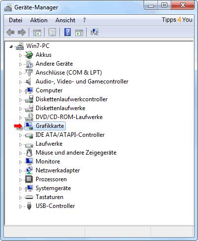 erscheint der Name der Grafikkarte (in unserem Beispiel: RADEON X800 Series). Klicken Sie wiederum doppelt darauf.