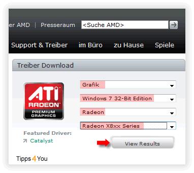 Klicken Sie anschließend auf den Button View Results um den passenden Treiber für Ihren Computer anzuzeigen.