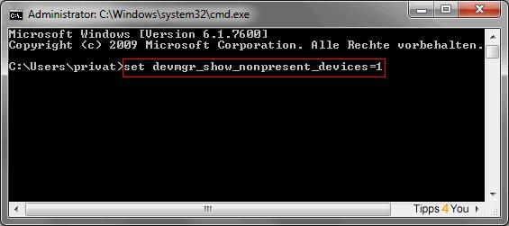 Um den Geräte-Manager zu öffnen geben Sie anschließend folgenden Befehl: