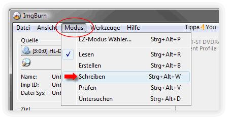 Modus / Schreiben zu den Brenneinstellungen wechseln.