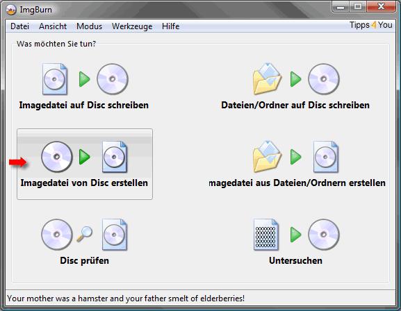 Brennen mit ImgBurn: Imagedatei von Disc erstellen