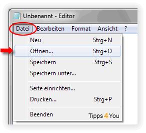 Im Editor klicken Sie in der Menüleiste auf Datei und anschließend auf Öffnen...
