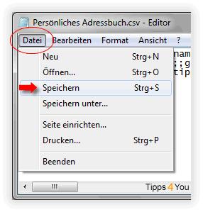 speichern Sie die Datei, in dem Sie in der Menüleiste auf den Menüpunkt Datei und anschließend auf Speichern klicken.