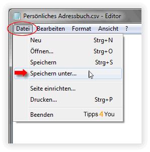 CSV-Datei und speichern diese (ohne den Inhalt zu verändern) unter Datei ->