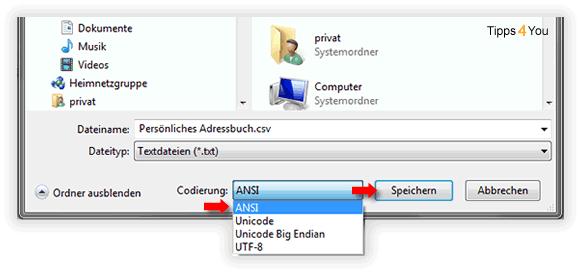 unter dem selben Dateinamen mit der Zeichenkodierung ANSI ab, bzw. überschreiben die vorhandene Datei.
