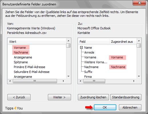 Benutzerdefinierte Felder zuordnen überprüfen, ob die Felder richtig zugeordnet wurden.
