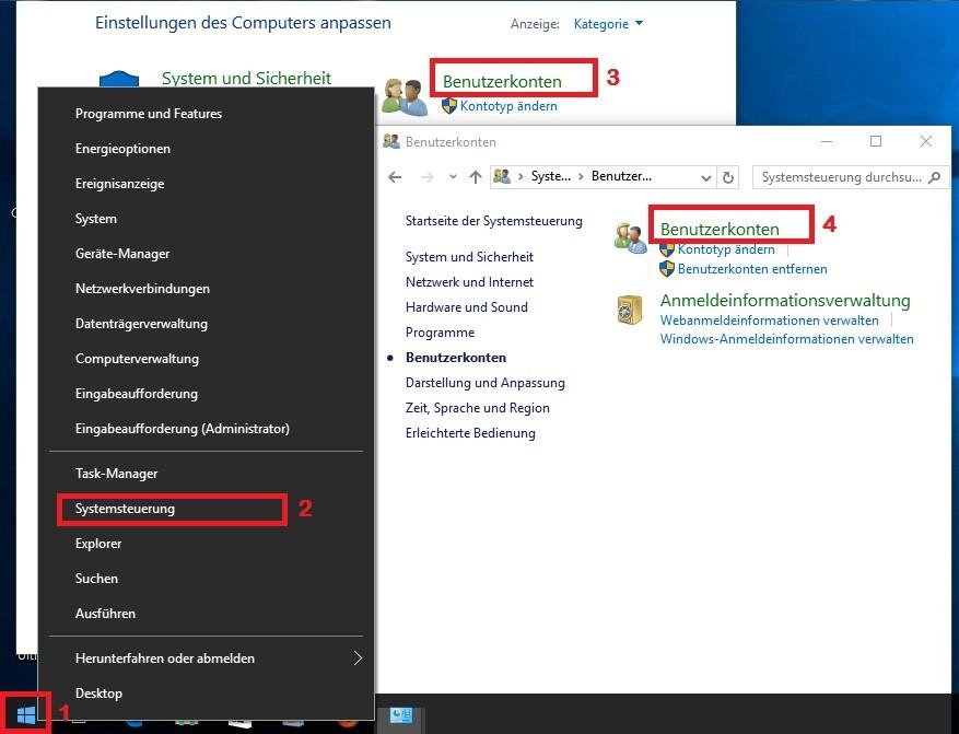 Windows 10: Benutzerkonten – Einstellungen aufrufen