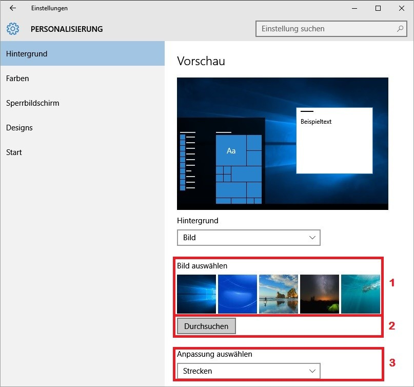 Windows 10 Hintergrundbild auswählen und ändern