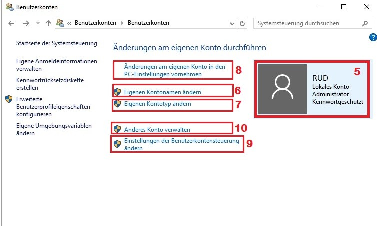 Windows 10: Benutzerkonten – Einstellungen änder