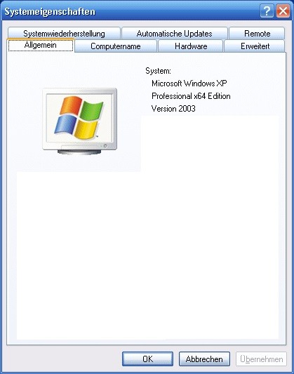 Windows XP Professional in der 64-Bit-Variante