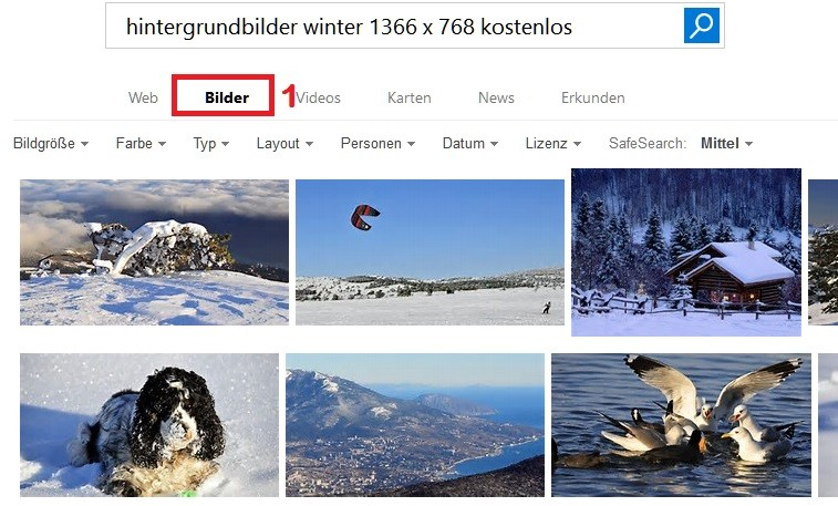 Hintergrundbild im Internet suchen