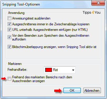 snipping tool-optionen