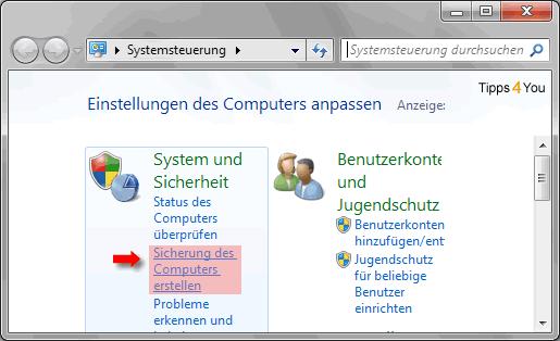In der Systemsteuerung klicken Sie auf Sicherung des Computers erstellen.