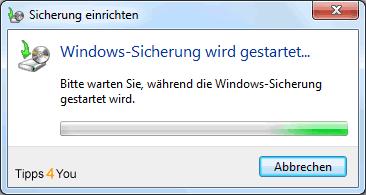 und es wird vom Betriebssystem auf die Einrichtung der Sicherung hingewiesen.