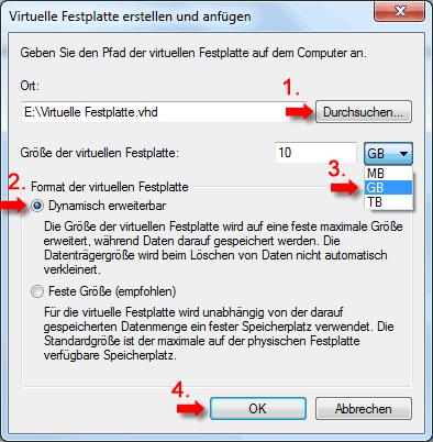 Unter Größe der virtuellen Festplatte geben Sie die Größe der zu erstellenden Festplatte (im unserem Beispiel 10 GB) ein und klicken auf OK.