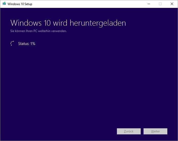 Windows 10: Medienerstellungstool Fortschrittsanzeige