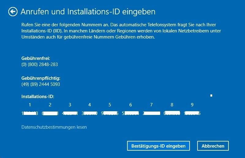 Windows 10: Vorbereitung zur telefonischen Aktivierung