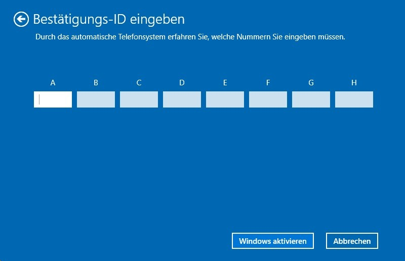 Windows 10: Eingabe der telefonisch erhaltenen ID