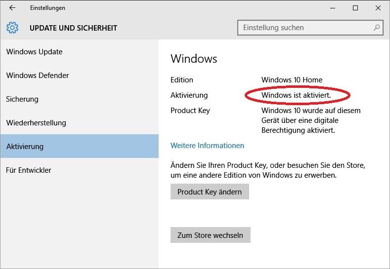 Windows 10: Aktivierungsstand