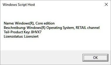 Windows 10 Produktkey auslesen