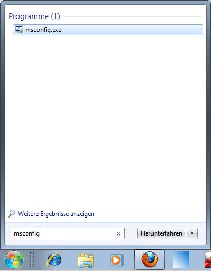 Windows 7: Msconfig aufrufen