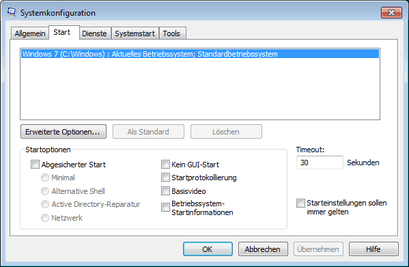 Windows 7 Fenster Systemkonfiguration: Start, erweiterte Optionen
