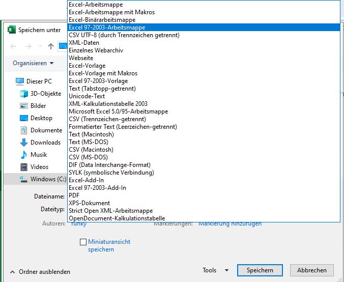 So können Sie eine Datei als xls statt xlsx speichern.