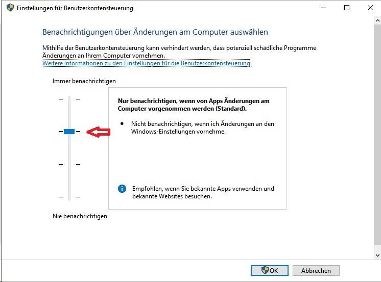 Windows 10: Voreinstellung der Benutzerkontensteuerung