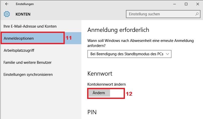 Windows 10: Passwort des Benutzerkontos ändern