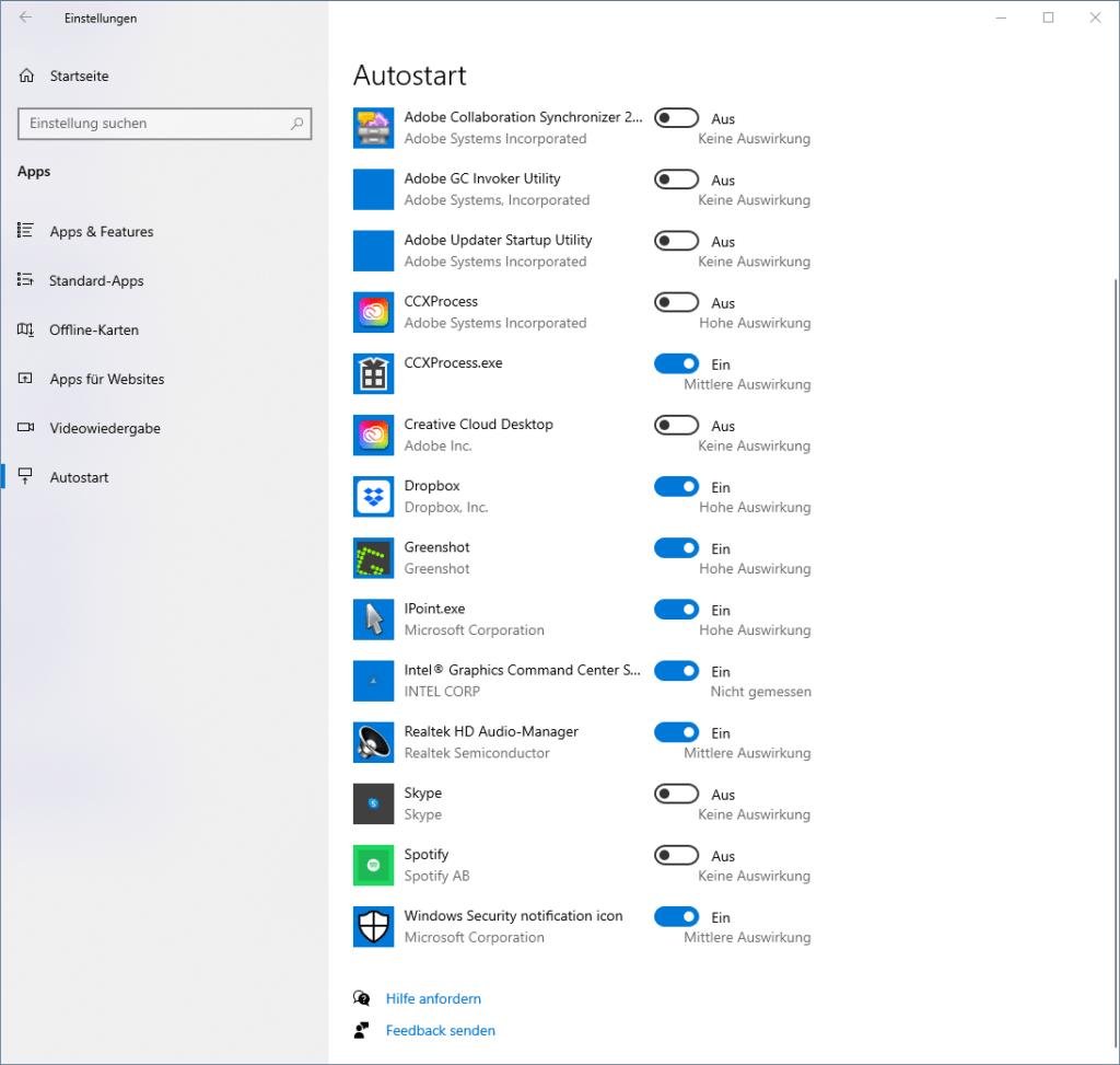 Autostart-Apps unter Windows 10