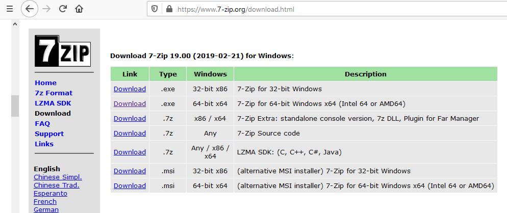 7zip webseite