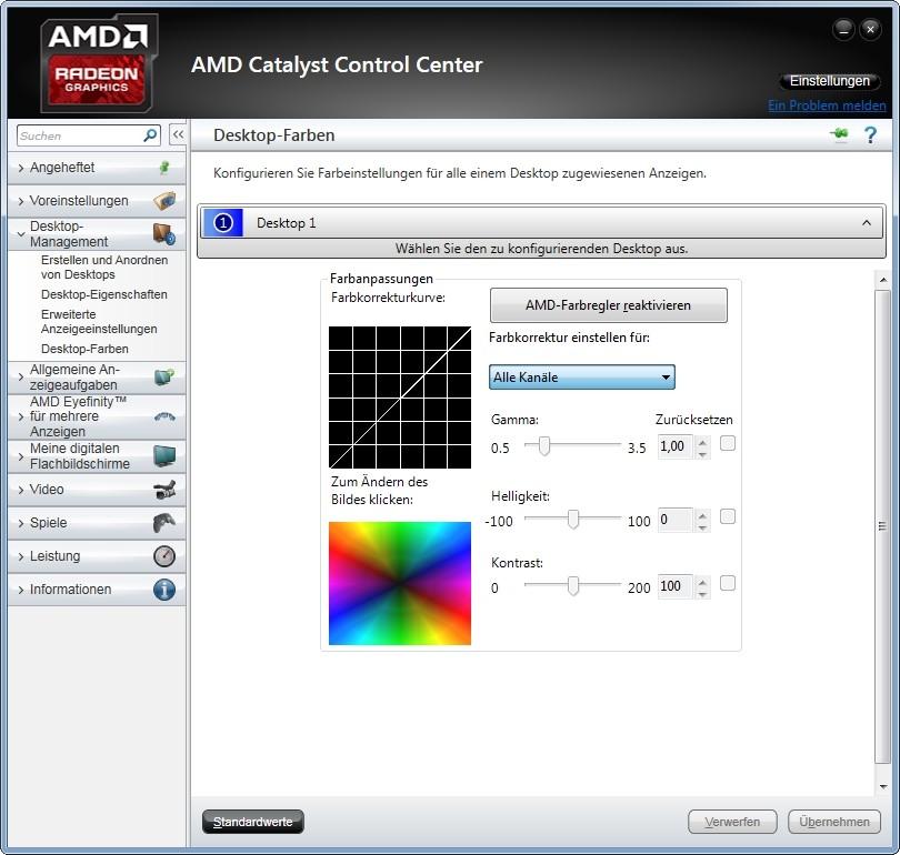 Bildschirm: Farben einstellen mit Windows 7 und dem CCC