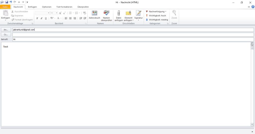 strg-enter Outlook