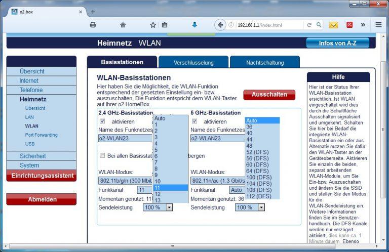Mehrere WLAN-Repeater verwenden: Verfügbare Kanäle und Sendeleistung in den zwei WLAN-Bereichen