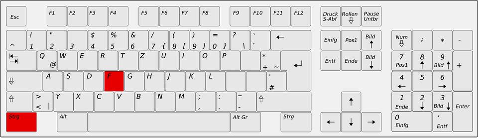 Position des Shortcuts STRG + F auf der Tastatur