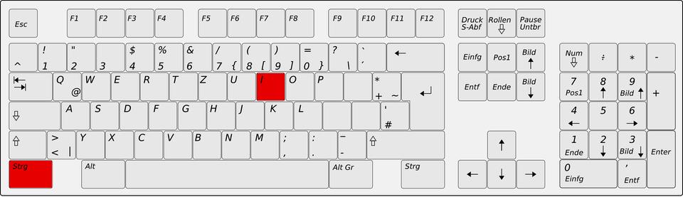 STRG I auf der Tastatur