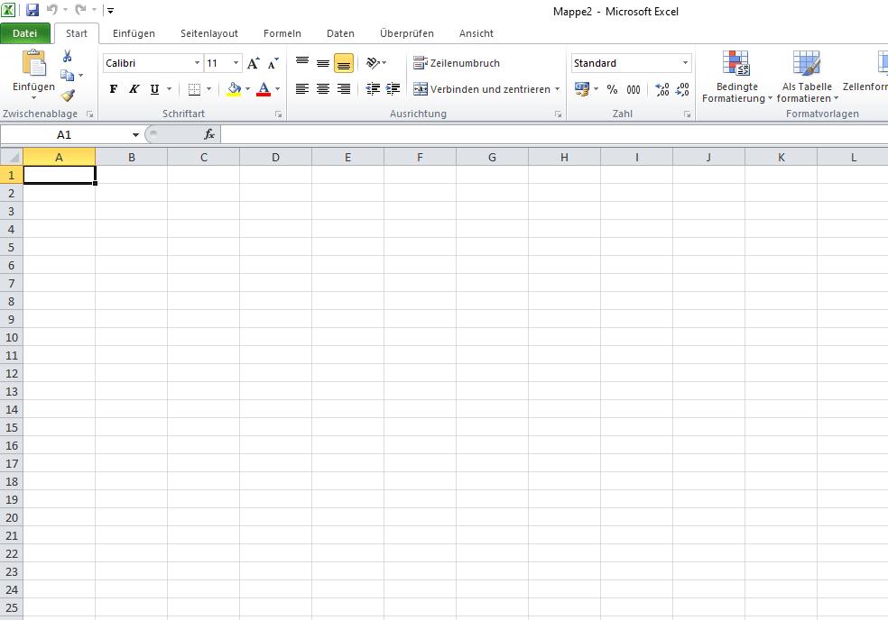 Neue Excel-Arbeitsmappe