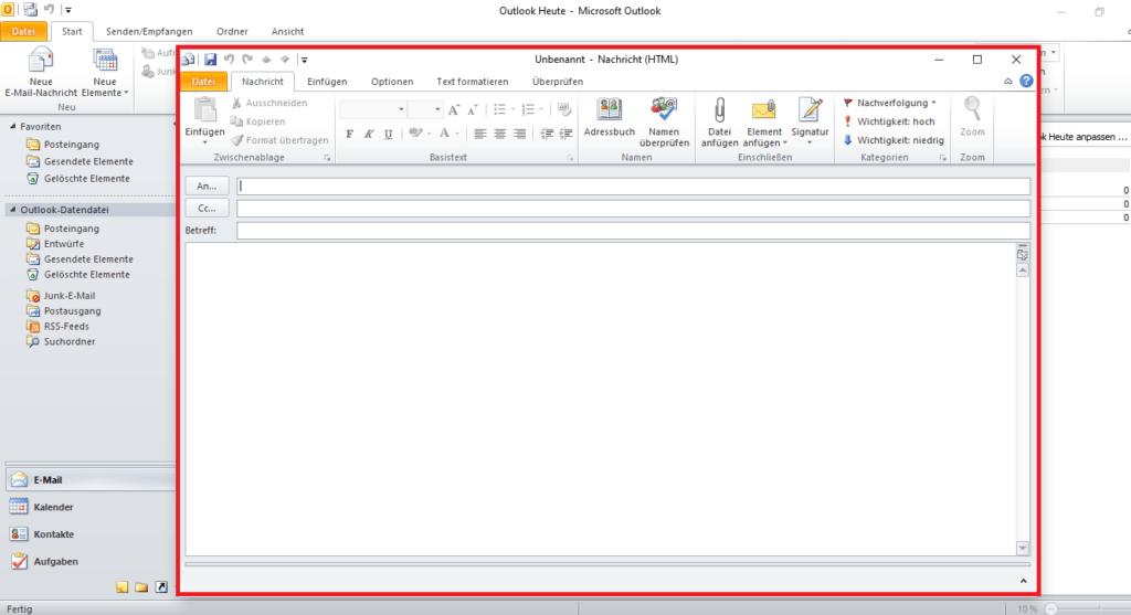 Neue E-Mail in Outlook per Shortcut erstellen