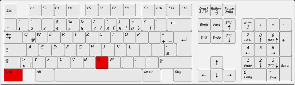 Die Position des Shortcuts STRG N auf der Tastatur