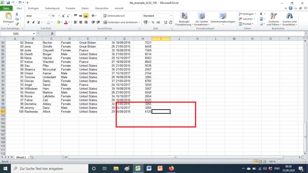 Zelle füllen in Excel (vorher)
