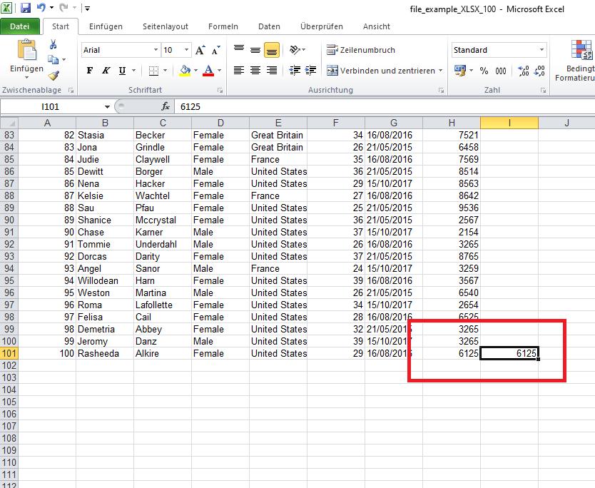 Zelle füllen in Excel (nachher)