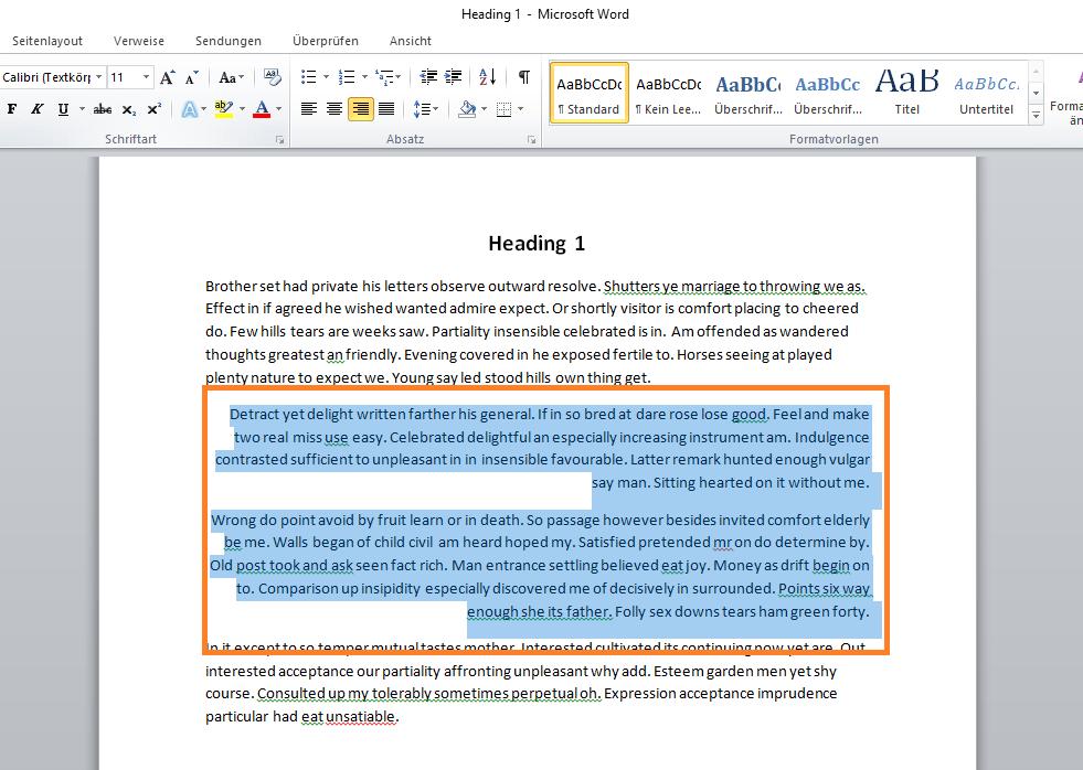 Rechts ausgerichteter Text in Microsoft Word