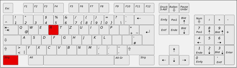 Die Lage der Tasten STRG und R auf einer normalen PC-Tastatur
