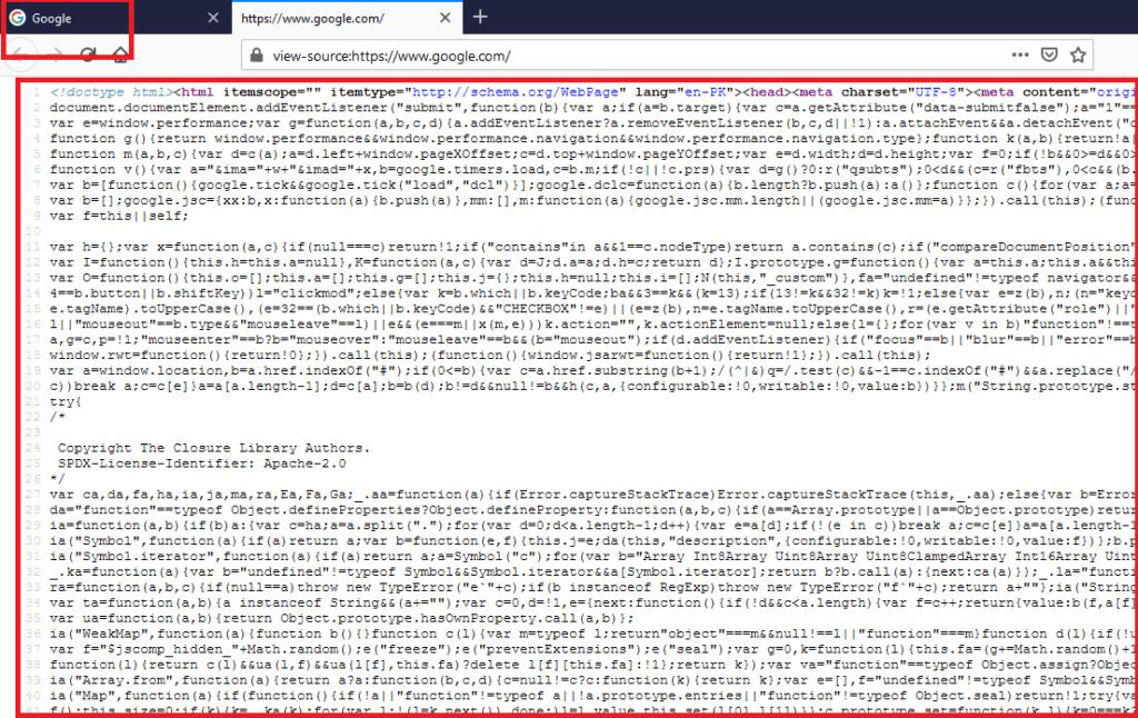 Quellcode nach Drücken der Tasten STRG + U (hier für Google.com)